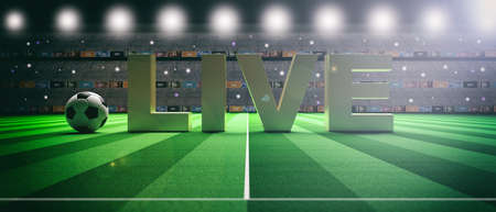 Word LIVE on a soccer football field background. 3d illustration