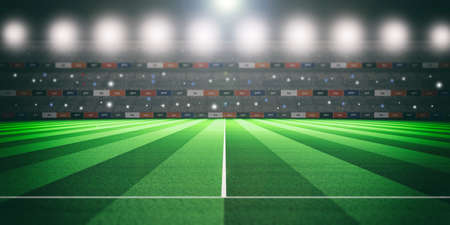 Soccer (football) stadium at night, illuminated abstract background. 3d illustration
