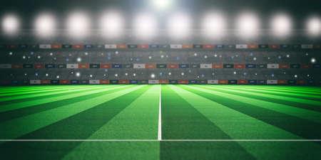 Soccer (football) stadium at night, illuminated abstract background. 3d illustration