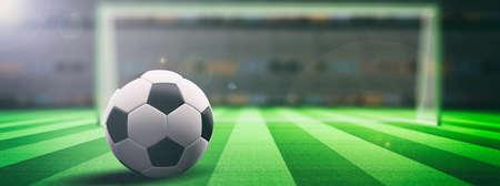 Voetbal (voetbal) bal op een verlichte veld gras achtergrond. 3d illustratie
