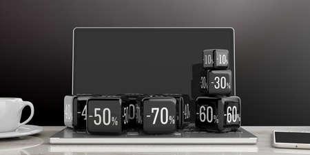 Black Friday online sale concept. Black sale cubes on a computer. 3d illustration