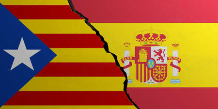 Catalonia and Spain flag, cracked wall background. 3d illustration