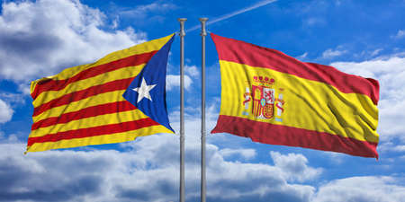Catalonia and Spain opposed flags waving on blue sky background. 3d illustration