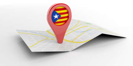 barcelona: Catalonia map pointer isolated on white background. 3d illustration