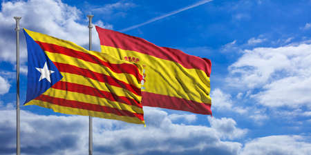 day: Catalonia and Spain flags waving on blue sky background. 3d illustration