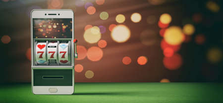Online gambling concept. Slot machine on a smartphone screen, green felt and abstract background. 3d illustration