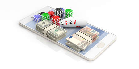 Online gambling concept. Poker chips, cards and money on a smartphone, white background. 3d illustration