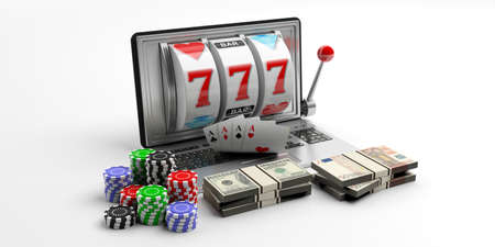laptop screen: Online gambling concept. Slot machine on a laptop screen, cards, money and poker chips, white background. 3d illustration