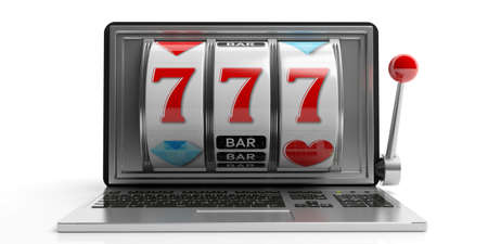 laptop screen: Online gambling concept. Slot machine on a laptop screen, white background. 3d illustration