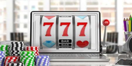 laptop screen: Online gambling concept. Slot machine on a laptop screen and poker chips, office background. 3d illustration