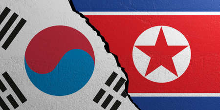 plastered wall: South Korea and North Korea relationship. Flags on plastered wall background. 3d illustration Stock Photo