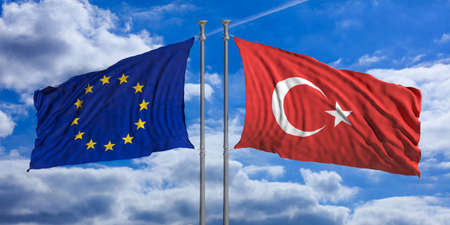 Turkey and European Union flags waving on blue sky background. 3d illustration