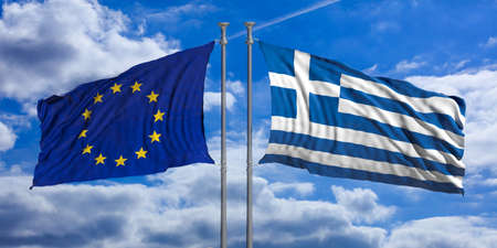 Grexit concept. Greece and European Union flags waving on blue sky background. 3d illustration