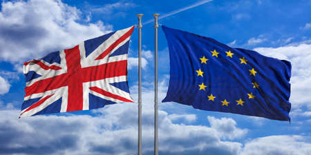 United Kingdom and European Union flags waving on blue sky background. 3d illustration