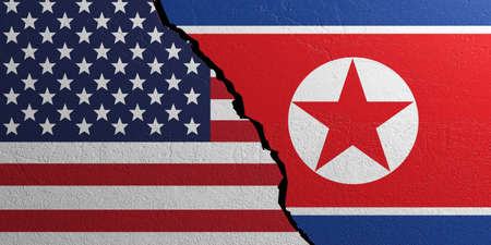 North Korea and USA relationship. Flags on plastered wall background. 3d illustration