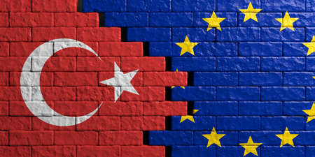 European Union and Turkey relationship. Flags on brick wall background. 3d illustration Stock Photo