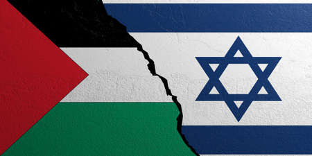 Palestine and Israel relationship. Flags on plastered wall background. 3d illustration Stock Photo