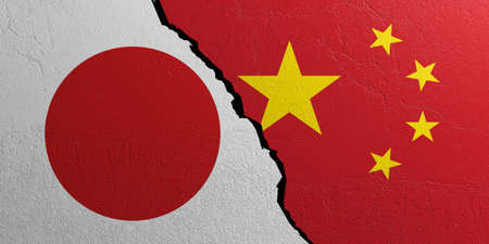 Japan and China relationship. Flags on plastered wall background. 3d illustration
