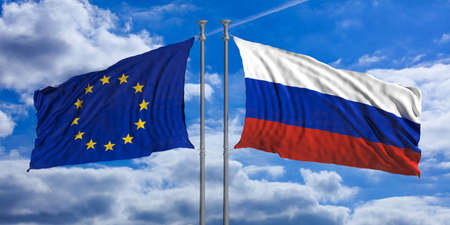 Russia and European Union flags waving on blue sky background. 3d illustration