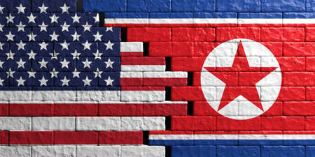 North Korea and USA relationship. Flags on brick wall background. 3d illustration Stock Photo