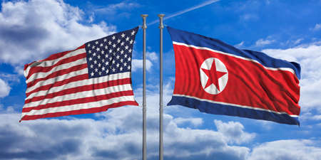 North Korea and United States of America flags waving on blue sky background. 3d illustration