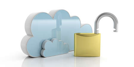 Cloud computing security concept.  Computer cloud and open padlock isolated on white background. 3d illustration