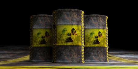 Toxic waste concept. Radiation symbol on oil barrels, dark background. 3d illustration