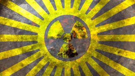 Radiation symbol on yellow background. 3d illustration