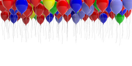 Colorful party balloons on white background, copy space. 3d illustration Stock Photo