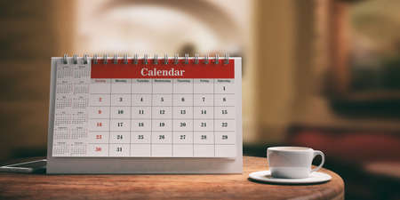 Desk calendar, a smartphone and a cup of coffee on a wooden table. 3d illustration