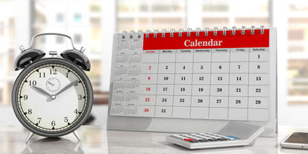 Deadlines concept. Desk calendar, and an alarm clock on an office background. 3d illustration