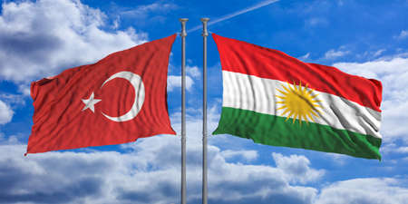 Turkey and Kurdistan relations. The opposite wave of Turkey and Kurdistan flags under a blue sky with many white clouds. 3d illustration