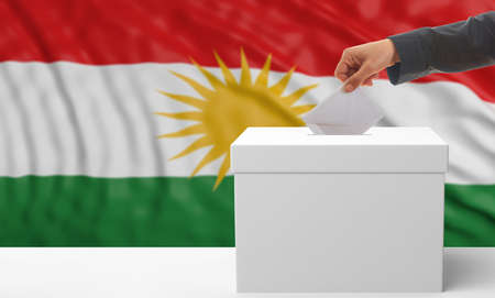Elections in Kurdistan. Womans hand puts an envelope in a white election ballot box on a waving Kurdistan flag background. 3d illustration