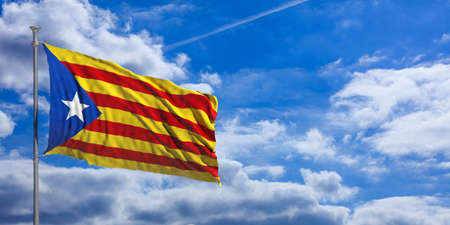 Catalonia flag waves proudly under a blue sky with many white clouds. 3d illustration