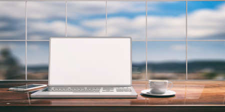 Laptop with white screen placed on a wooden desk. Room with a window overlooking the blurred blue sky. 3d illustration