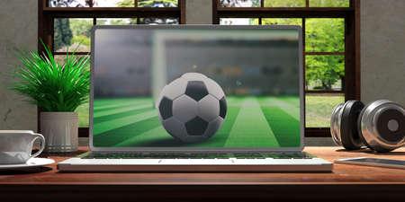 サッカーの画面と銀の色とノート パソコンは、木製デスク、ぼやけの美しい自然を見渡せる窓付きの部屋に配置されます。3 d イラストレーション