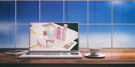 Laptop with stat bars screen and silver color  placed on a wooden desk. Room with a blurred window overlooking the sky. 3d illustration