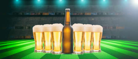 Beer glasses and a bottle on a soccer ball, football field background. 3d illustration