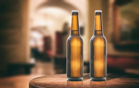 Two unopened beer bottles on a wooden table, abstract bar background. 3d illustration Stock Photo