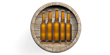 Beer bottles and a beer barrel isolated on white background. 3d illustration