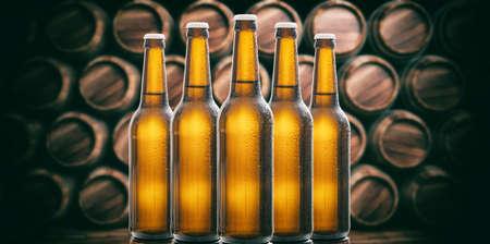 Set of unopened beer bottles in a brewery, wooden barrels background. 3d illustration