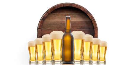 A beer bottle and glasses of beer on beer barrel top background. 3d illustration