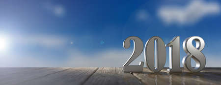 New year 2018 on a wooden table, blue sky background. 3d illustration