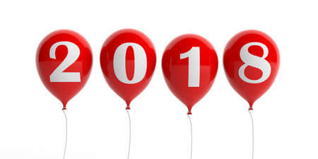 New year 2018 on red balloons isolated on white background. 3d illustration