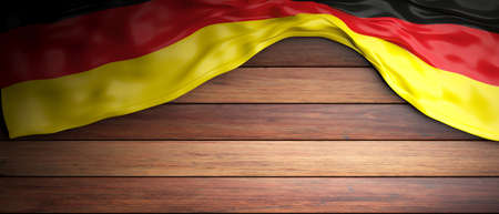 Germany crumpled flag placed on wooden background with copyspace. 3d illustration