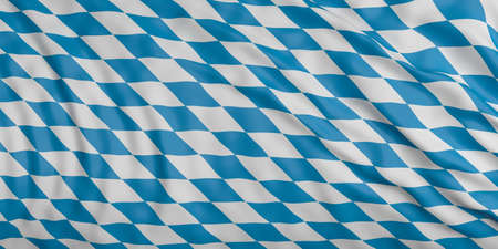 Waving in the wind flag of Bavaria, Germany, with silk texture.3d illustration Reklamní fotografie - 90391327