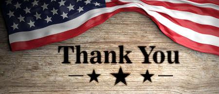 木製の背景に置かあなたに感謝愛国的なメッセージでアメリカのくしゃくしゃフラグ。3d イラストレーション