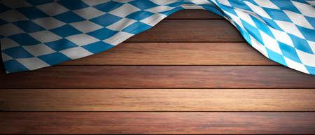 Invitation to Bavaria for Oktoberfest celebration.  Wooden background with copyspace. 3d illustration