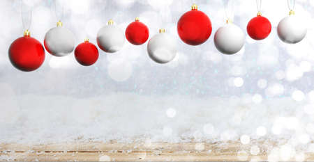 Red and white Christmas balls on wooden background with snow, copy space. 3d illustration Stock Photo
