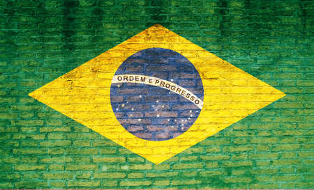 concrete block: Brazil national flag painted on a brick wall. 3d illustration